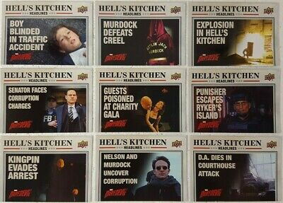 2018 UPPER DECK DAREDEVIL SEASONS 1 AND 2 Hells Kitchen HEADLINES Card Set of 10