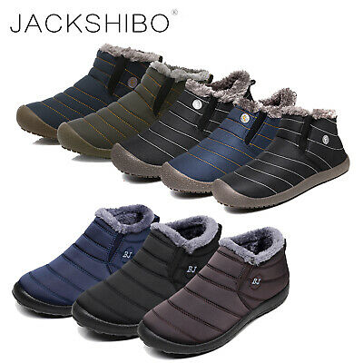Mens Winter Snow Boots Slippers Ankle Fur Lined Warm Shoes Outdoor Waterproof