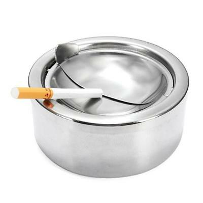 Round Stainless Steel Cigarette Lidded Ashtray Silver w/Windproof Lid Cover MA