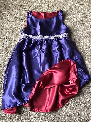 Girls 7-8 Years Dress Purple Red Reversible Party Festive Christmas H&M S/N132