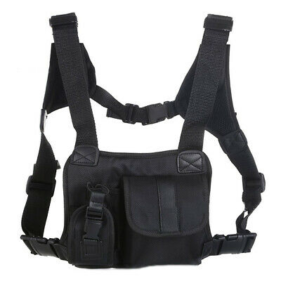 Adjustable Belt Radio Chest Harness Front Pack Pouch Holster Vest Rig Waist Fit