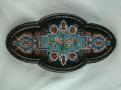 Superb Antique Victorian Berlin Beadwork Tapestry, Framed Ebonised & Glazed Tray