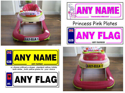 2 x Personalised Number plate Stickers For Baby Walkers & Push along cars & toys