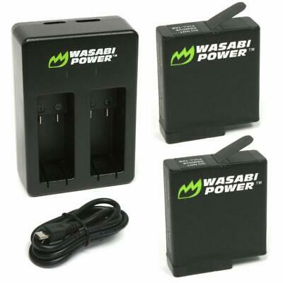 Wasabi Power Battery (2-Pack)  Dual Charger For Gopro Hero7 Black, Hero6 Black,