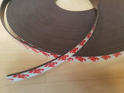 Self Adhesive Magnetic Tape 3M backing Magnet Strip 12mm x 1.5mm chossen length