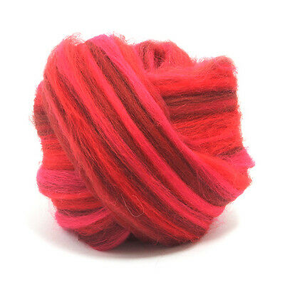 100g DYED MERINO WOOL TOP PASSION BLEND DREADS 64's SPINNING FELTING ROVING