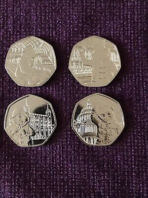New 2018, 2019 UK Paddington Bear 50p Coin set of four  From Sealed Bags