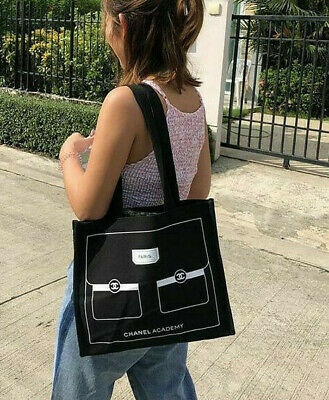 Chanel Academy Cc Logo Black 2019 Beauty Thick Canvas Shopping Bag Vip Gift Rare
