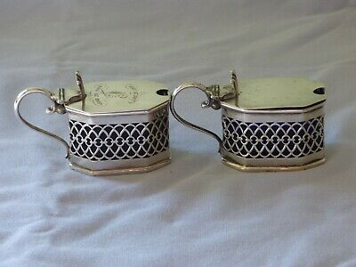 2 Edwardian SOLID SILVER octagonal mustard pots with grill bodies, glass liners