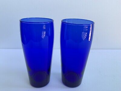 Set of 2 Tall Cobalt Blue 16 oz Glass Tumblers Water Drinking 6.5 Inches