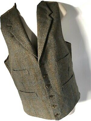Mens Waistcoat Tweed Wool Mix Herringbone Check Retro Vintage