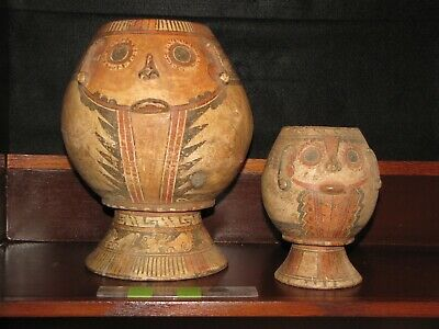Pre Columbian, Pottery, Tested, Costa Rican, Tlaloc Effigy Vessels, +1000 1550
