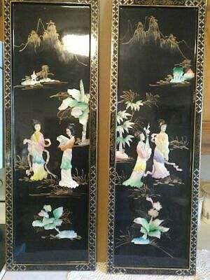 Magnificent Asian Black Lacquer Mother Of Pearl ? Wall Panels, Chinese,Art,...