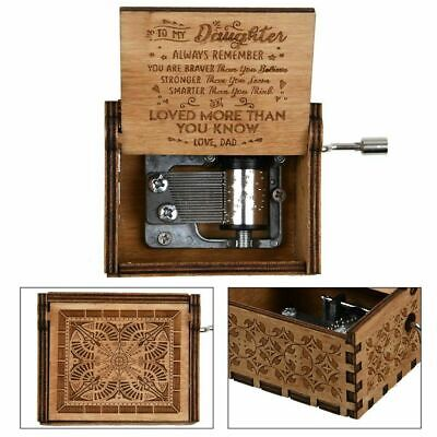 Retro Wooden Music Box Dad/Mom To Daughter Engraved Music Box Gift Z2X8M
