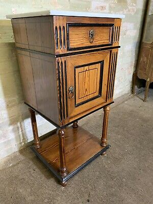 Antique Vintage French Pitch Pine Marble Topped Pot Cupboard .Delivery Available