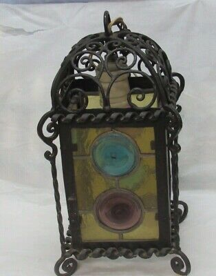 Vintage Wrought Iron Leaded Stained Glass Ornate Porch Hanging Ceiling Light