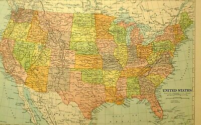 1922 Map United States Florida Georgia Kentucky Oregon Nevada California Ohio