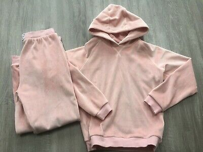 Girls M&S Velour Tracksuit Set Outfit Hoody Joggers 8-9 Years Hardly Worn Vgc