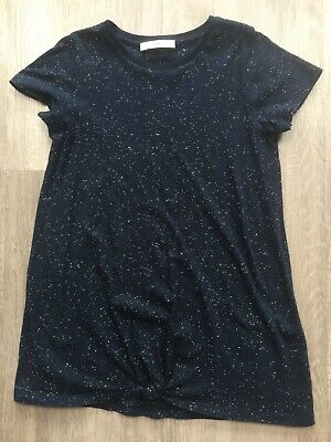 Girls M&S Navy Speckled Tunic Tshirt Top 8-9 Years Vgc