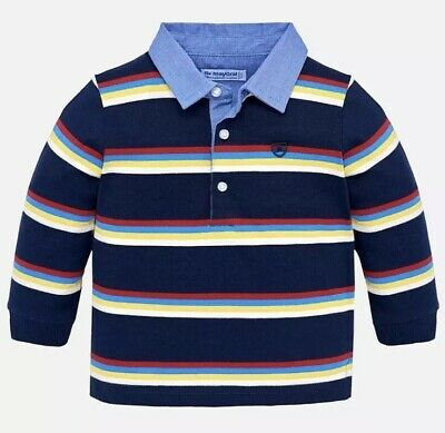 Baby Boys Mayoral Navy Stripe Long Sleeve Polo Shirt Top Age 12 Month 1 Year £24