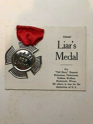 1940's SS Adams White Card Liar's Medal NOS moc old store stock