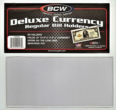 BCW DELUXE CURRENCY REGULAR BILL HOLDERS  NEW SEALED pack of 50** fast shipping!
