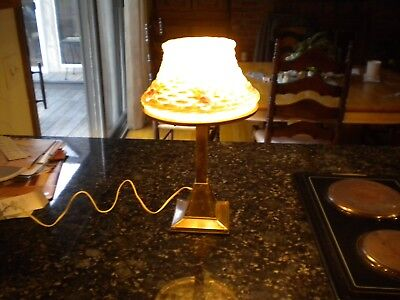 Antique art deco misson  puffy shade roses with weave lamp fantastic brass base