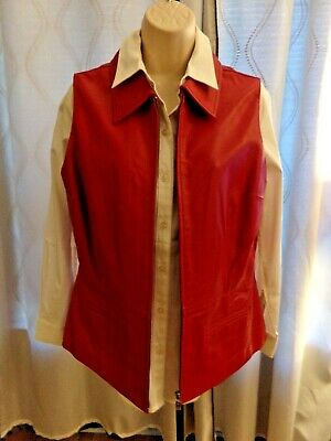 Vintage Margaret Godhrey Red Lined Great Quality Leather Vest 14 Beautiful