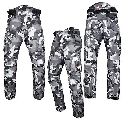 Motorbike Motorcycle Waterproof Cordura Textile Trousers Pants Armours Grey Camo