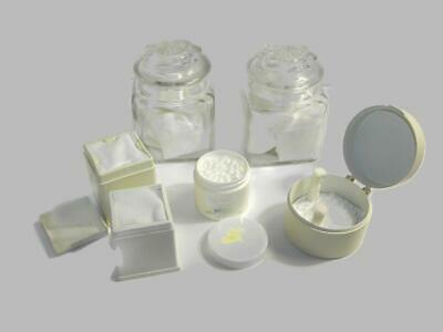 Lot of Assorted Dental Softs Containers Glass Pharmacy Jars Cotton Roll 2x2 -DE2