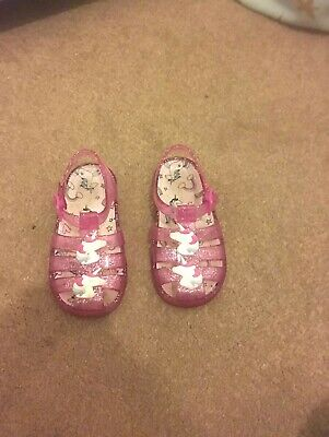 Girls Pink Unicorn Jelly Shoes / Sandals Size 7