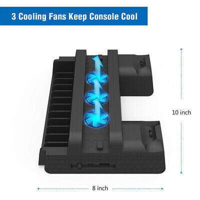 Cooling Fan Station Vertical Stand Controller Charger Dock For PS4 Slim/PS4 Pro