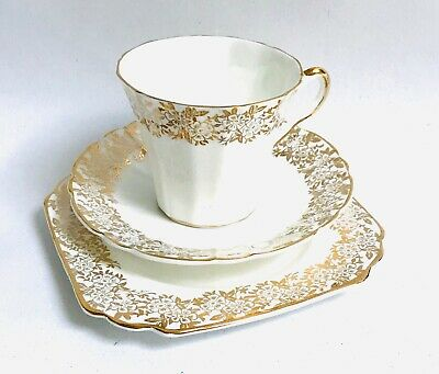 White/Gold China Tea cup saucer Set trio English Bone China 22kt gold Imperial