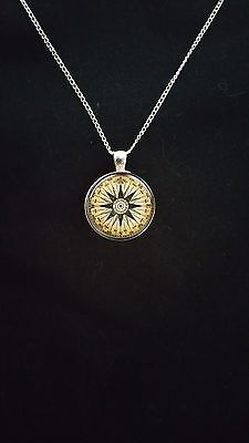 Vintage Silver Compass Pendant Necklace Old Fashioned Antique Style Picture Jewe