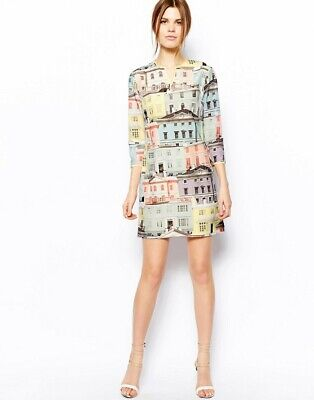 TED BAKER Regency House print tunic shift dress zip pink blue party occasion 1 8