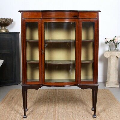 Antique Glazed Bookcase Victorian Mahogany Display Cabinet 19th Century