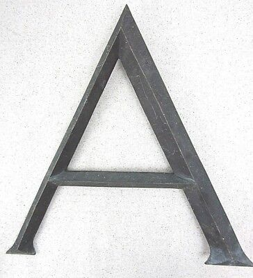 12 inch Antique letter A from 1880's bank building sign beautiful bronze brass,