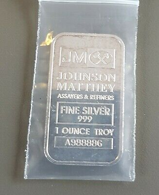 1 Oz Older Rarer Johnson Matthey Serial A988886 Fine Silver 999 Bullion Bar