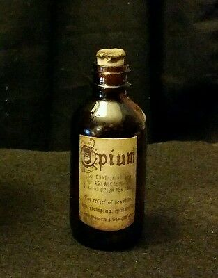 Vintage Style Amber Glass Opium Medicine  Bottle Handcrafted by Artist