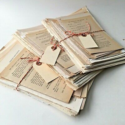 100 VINTAGE Book Pages LOT PAPER PACK SCRAP PACK for Collage, Journals++