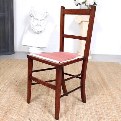 Antique Edwardian Chair Petite Salon Occasional Side Bedroom Inlaid Mahogany