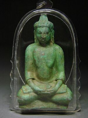 ANTIQUE BRONZE MEDITATING BUDDHA AMULET - MON DVARAVATI INFLUENCE. 19th C.
