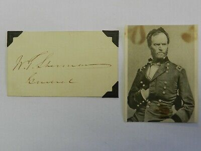 General William T. Sherman Photo & Autographed Signed Index Card