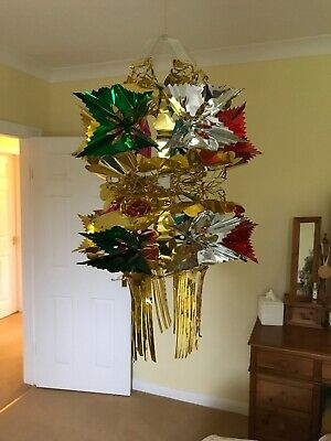 Vintage Christmas Decorations Foil Ceiling Hanging 1980s