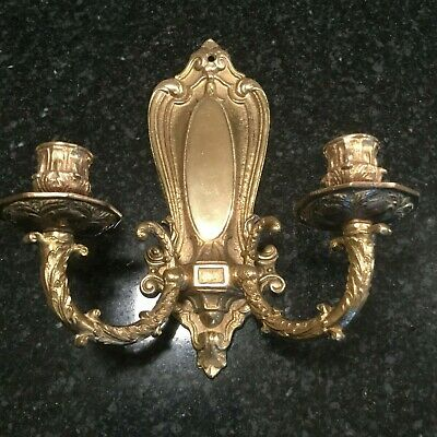 Vintage Solid Brass Double Arm Wall Sconce Candle Holder Ornate