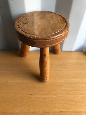 Vintage Welsh Made Wooden 3 Legged Milking Stool, Plant stand, Rustic, Country