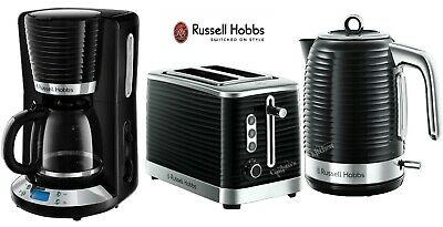 Russell Hobbs Inspire Kettle, 2 Slot Toaster and Coffee Maker - Black