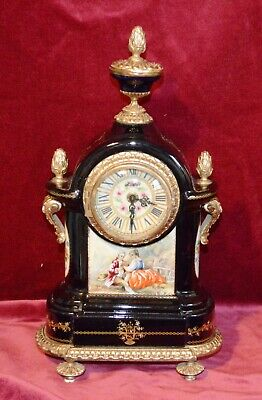 Antique Vintage Lauris Sevres Handpainted Porcelain & Gilt Brass Mantle Clock