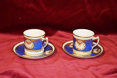 Antique Bone China Handpainted Coffee Cup and Saucers Pair of A/F