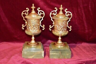 Antique Victorian Onyx & Gilt Brass Twin Handled Pedestal Urn Clock Garnitures